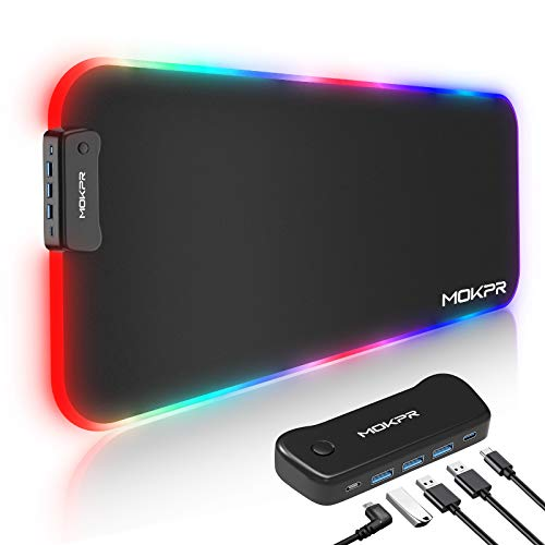 MOKPR Large Mouse Pad Gaming with 4-Port USB Hub, 4MM Soft Extended RGB Gaming Keyboard and Mouse Pad with 3 USB 3.0 & USB C, 16 Color 3 Brightness Desk Mat for Work Game Home Office(31.5×11.8x0.16in)