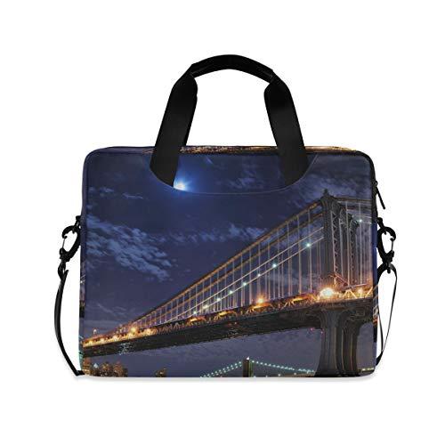 XIXIKO Brooklyn Bridge Manhattan NYC Laptop Bag Expandable Trolley Briefcase Bag for Women Men with Detachable Strap for Work Trip Business Travel iPad MacBook