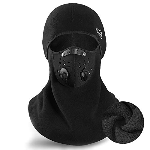 TATR Balaclava Ski Mask Winter for Men Women,Anti Dust Windproof Thermal Motorcycle Loops Reusable Face Mask,Black, Large