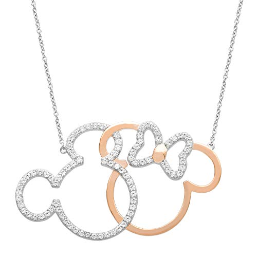 """Disney Mickey and Minnie Mouse Sterling Silver and Rose Gold Plate 18"""" Necklace;Jewelry for Women"""