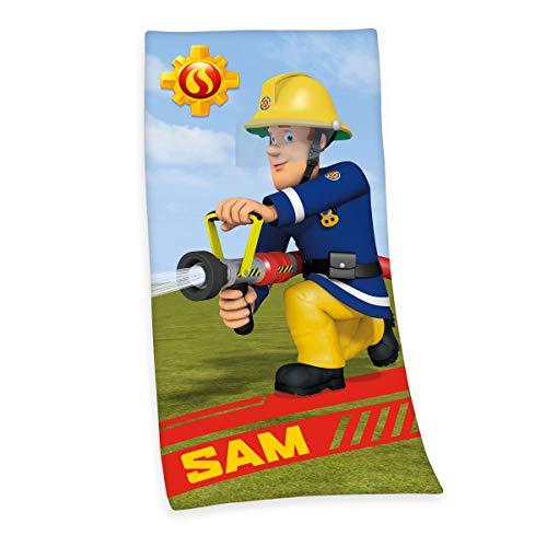 Herding Feuerwehrmann Sam Velourstuch, Baumwolle, Mehrfarbig, 75 x 150 cm