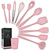 K & G Kitchen Utensils Silicone Heat-Resistant Non-Stick Silicone Cookware 11-piece Pink Spatula Set,Turner, Whisk, Slotted,Spoon, Brush, Spatula, Soup Ladle, Turner, Tongs,Pasta Fork and Holder
