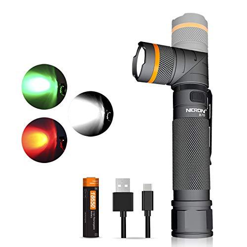 NICRON - Linterna LED recargable por USB, 800 lúmenes, cabezal giratorio, resistente al agua IP65, luz blanca roja verde, lámpara de camping con imán, batería 18650 B70
