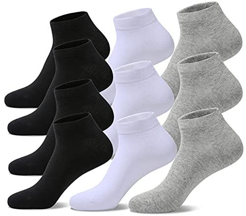 YouShow Sneaker Calzini Uomo Donna Calze Sportive Corta 10 Paia Cotone Unisex OEKO-TEX standard 100 Grigio bianco e nero 39-42