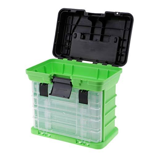 Backbayia Lure - Maleta de almacenamiento para equipaje, carrete de pesca, cebo atractivo, caja de plástico (verde)