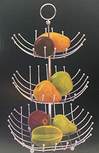 3 Tier Fruit Basket, Removable Metal Fruit Basket, for Preserving Fruits, Vegetables, Snacks or Bread, Fruit Basket Size: