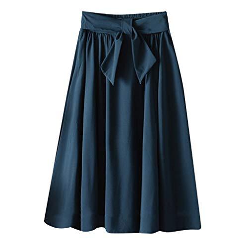 Xmiral Kjol damer enfärgad elastisk midja veck medellång kjol med bälte