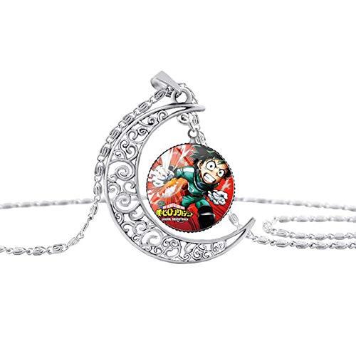Saicowordist Collar My Hero Academia, colgante con patrón de figura de dibujos animados, cadena larga de acero inoxidable, accesorios para bolsa de ropa (Izuku Midoriya)