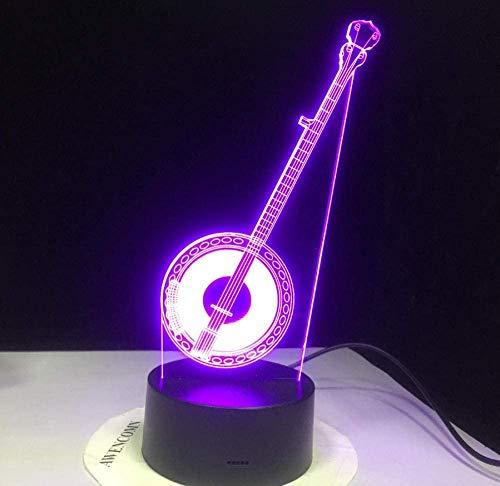 Música Erhu Lámpara Acrílico 3D Ilusión Led Lámpara Colorido Toque Luz Nocturna Regalos