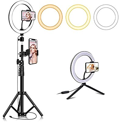 """10.2"""" Selfie Ring Light with Tripod Stand & 2 Phone Holders for Live Stream/Makeup, Umijks Dimmable LED Beauty Camera Ringlight for Photography/YouTube/Vlog/Tiktok from Umijks"""