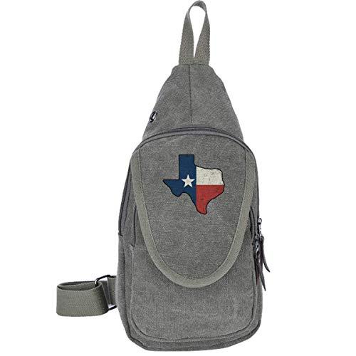 Vintage Texas-Flagge Canvas Brusttasche für Trekking Wandern Casual Bag für Männer Frauen Kaffee