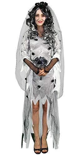 Foxxeo Gothik Geister Braut Damen Kostüm mit Schleier und Brautstrauß weißes Zombie Kleid Gotic Halloween Fasching Karneval Größe XL