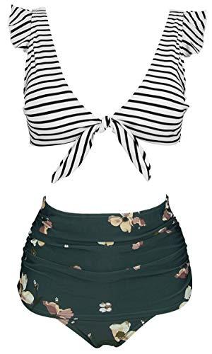 COCOSHIP Damen-Bikini-Set, Retro-Stil, Blumenmuster, hohe Taille, gerafft, mit Schnürung vorne, Verschluss oben und Rüschen - - 42