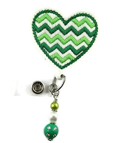 St Patrick's Day Clover Heart Chevron - Nurse Badge Reel - Retractable ID Badge Holder - Nurse Badge - Badge Clip - Badge Reels - Pediatric - RN - Name Badge Holder