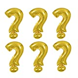 Creaides 10 Pcs Gold Symbol Question Mark Balloons Aluminum Mylar Helium Foil 16 Inch Balloons for Baby Shower Gender Reveal Party Suppliers