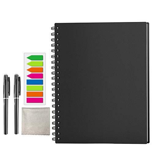 HOMESTEC Smart Notebook - Taccuini Riutilizzabile Cancellabile Block Notes Nube Conservazione Quaderni Spirale per la Scuola Forniture Casa Memo di Scrittura Penna Inclusa(A4-tratteggiata)