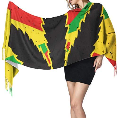 Cannabis Blad Op Grunge Rastafarian Vlag Cashmere Vrouwen Sjaal Womens Wrap Sjaal Cashmere Winter Sjaal 77