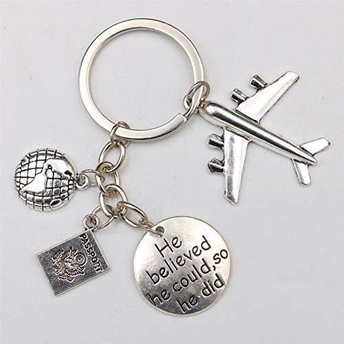 N/ A 1pc antiek zilver Hij gelooft, dat hij zou kunnen zeggen dat hij vliegtuig & pas & kaart sleutelhanger DIY creatieve paar sleutelhangers betovert