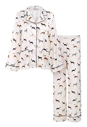 Matt Viggo Damen Zweiteiliger Schlafanzug Satin Hausanzug Welpen Print Klassische Lange Pyjama V-Ausschnitt mit Knopfleiste, Weiß, S
