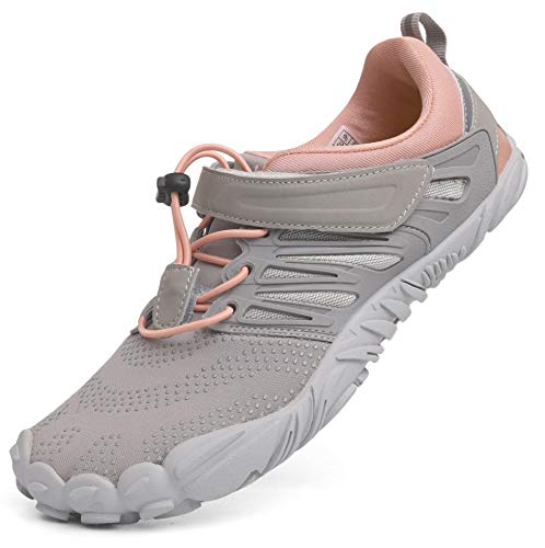 WHITIN Women's Minimalist Barefoot Shoes Low Zero Drop Trail Running 5 Five Fingers Wide Toe Box for Female Lady Minimus Parkour Road Sport Beach Grey Pink Size 10