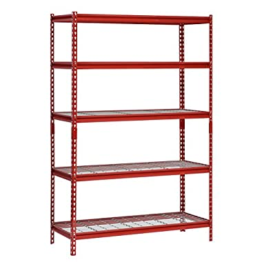 Muscle Rack UR482472WD5-R 5-Shelf Steel Shelving Unit, 48  Width x 72  Height x 24  Length, Red