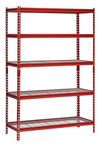 Husky 77 in. W x 78 in. H x 24 in. D 4-Shelf Welded Steel Garage Storage Shelving Unit with Wire Deck in Red