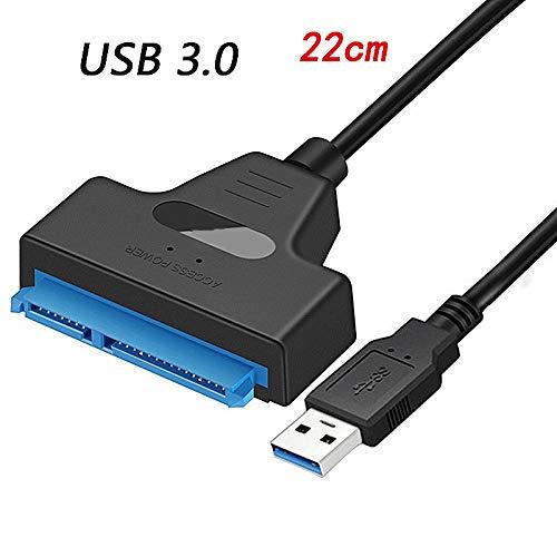 USB 3.0 auf SATA-Schnittstelle, Festplatten-Adapter-Schnittstelle, für 2,5 Zoll 22-polige SSD & HDD, bis zu 6 Gbps Unterstützung USB 3.0