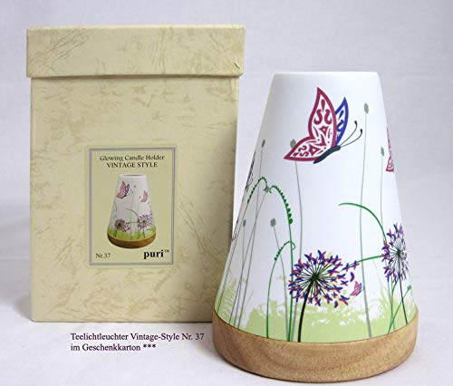 Hellmann Versand GmbH Teelichtleuchter Vintage Style Schmetterling Mehrfarbig Nr. 37 ca. 14,5 cm hoch