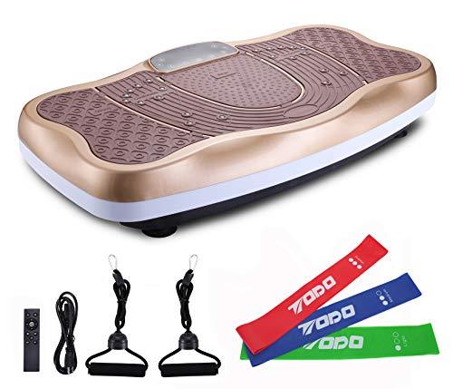 FITODO Vibrationsplatte Power Plate Vibrationstrainer Für Ganzkörper Training—Fernbedienung/Bluetooth Musik/Widerstandsbänder/Geschwindigkeits Einstellbar (mit Schleifen)