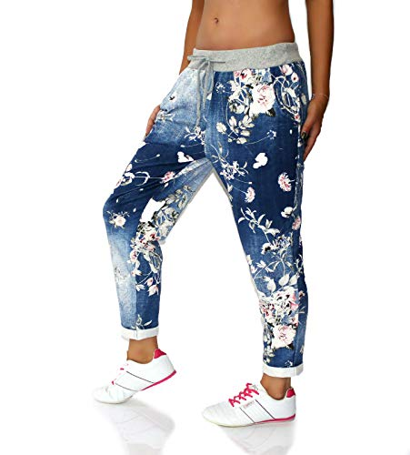 CHICK REBELLE Große Größen Damen Hose Jogginhose Boyfriend Sweatpants Freizeithose Jeans Blumen dunkel