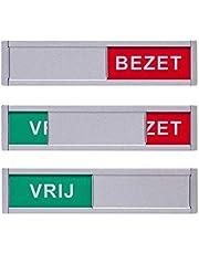 Vrij Bezet Schuifbordje - Eenvoudige montage - 125 x 30 x 4 mm - Tekst vrij bezet deurbordje