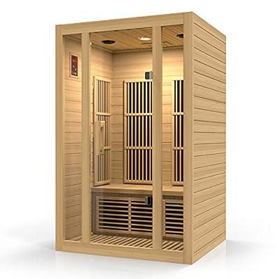 Durasage 2-Person Carbon Infrared Sauna - Canadian Hemlock Wooden Sauna - 1750 Watts - Bluetooth, FM Radio & USB Input