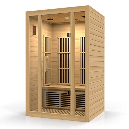 Durasage 2-Person Carbon Infrared Sauna - Canadian Hemlock Wooden Sauna - 1750 Watts - Bluetooth, FM...