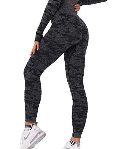 SLIMBELLE Damen Camo Sport Leggings Hohe Taille Yoga Hose Nahtlos Camouflage Fitness Gym Leggins Sexy Push Up Sporthose Fitnesshose Lange Blickdicht Streetwear Kompression Laufhose Jogginghose