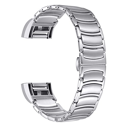 For Fitbit Charge 2, bayite Wristband Bracelet Stainless Steel Bands with Butterfly Closure Silver Band