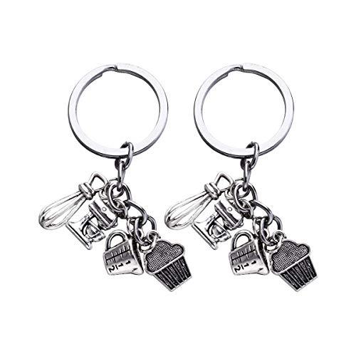 KESYOO2 stücke Kuchen und Schneebesen Design Schlüsselanhänger Backen Thema Schlüsselanhänger Anhänger Schlüsselanhänger Handwerk Ornamente Geschenk für Autoschlüssel Tasche Decor
