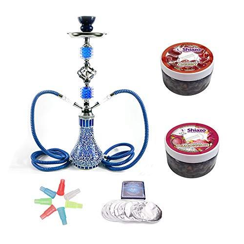RMAN® Shisha Set mit 2 Schläuchen Wasserpfeife 55cm Blau inkl. 2 Shiazo Dampfsteine, Folie und Kohlezange, Mundstücke