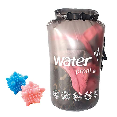ABINECS 洗濯袋 20L クリーニングバッグ 折り畳み 出張 旅行 手洗い 洗濯ボール付属 (クリアブラック)