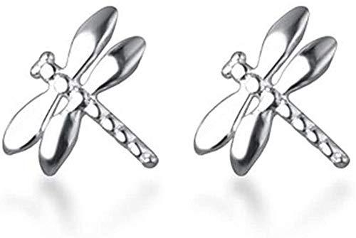 Delicados pendientes de tuerca de plata de ley S925 con diseño de libélula para mujeres y niñas, minimalistas, bonitos e hipoalergénicos