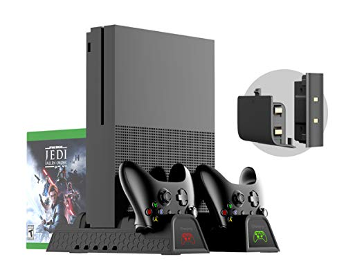 Xbox One Soporte Vertical y Ventilador de Refrigeración, estación de carga, Cargador de Batería Mando, 2x Battery Recargable controller, 12x juegos almacenamiento, USB Hub para Xbox One, One S, One X