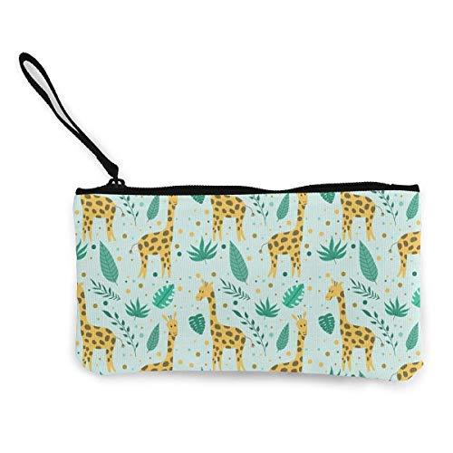 Yuanmeiju Linda jirafa y flores de lona monedero monedero lindo bolso de la muñeca monedero dinero monedero bolsa de teléfono móvil con cremallera