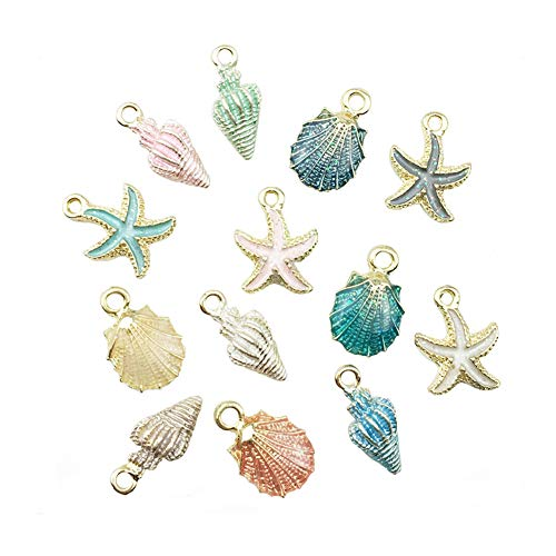 Mystart 13 Pieces Alloy Enamel Assorted Small Ocean Starfish Conch Seashell Charms Pendants for Necklace Bracelet Earring Making