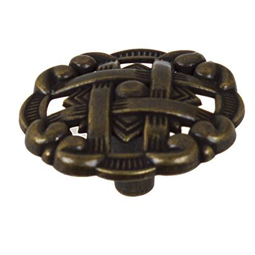 5745-AB-10 - GlideRite Hardware 1-3/8' Celtic Medallion Cabinet Knobs, Antique Brass (Pack of 10)