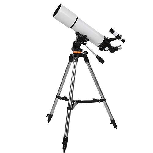 Telescópio, ampliação HD de 80 mm, telescópios astronômicos refletindo telescópios profissionais de viagem com tripé ajustável e mira do localizador para observação da lua estrela, cenário