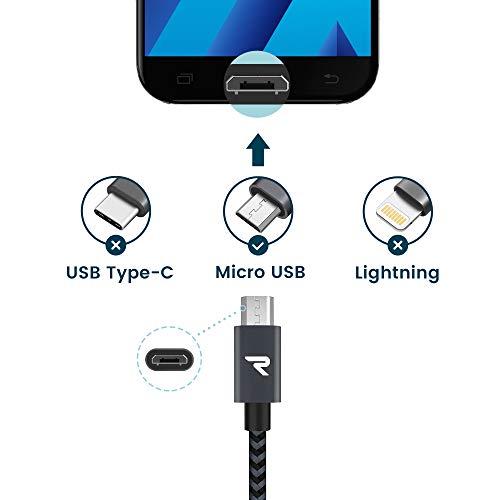 RAMPOW Micro USB Ladekabel, 0.2M+1M*2+2M+3M, mit Nylon Geflochtenes Micro USB Schnellladekal Geeignet für Android Smartphones, Samsung Galaxy, HTC, Huawei, Sony, Nexus, Kindle und Mehr - Dunkelgrau