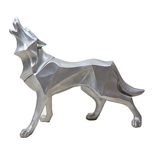 Gannon Front Tierharzhandwerksstudienschlafzimmerausgangstotemwolf-Hundesimulations-Kunstdekoration (Color : Silver)