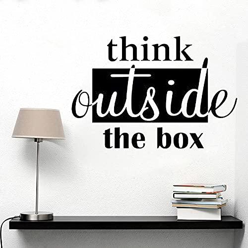 Piensa en el exterior trabajo en equipo pegatina de pared vinilo motivacional puerta de clase Art Deco equipo escuela Mural A2 59x42 cm