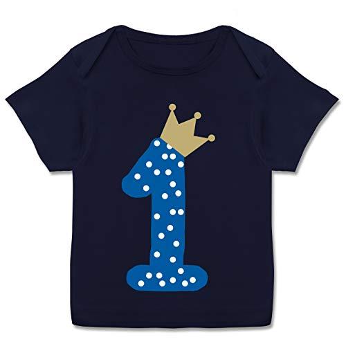 Geburtstag Baby - 1. Geburtstag Krone Junge Erster - 80-86 - Navy Blau - Tshirt Jungen 80/86 - E110B - Kurzarm Baby-Shirt für Jungen und Mädchen