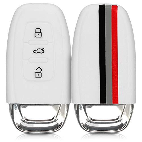 kwmobile Cover Chiave Compatibile con Audi Chiave Audi con 3 Tasti Keyless - Guscio Protettivo coprichiave in Morbido Silicone TPU - Stripes Nero/Rosso/Bianco