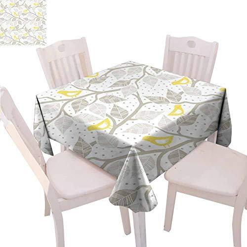 Nappe carrée grise imprimée Oiseaux sur la branche avec feuilles de couleur pastel sur fond pointillé, Art naturel sans couture, 160 x 160 cm Jaune Tan Blanc
